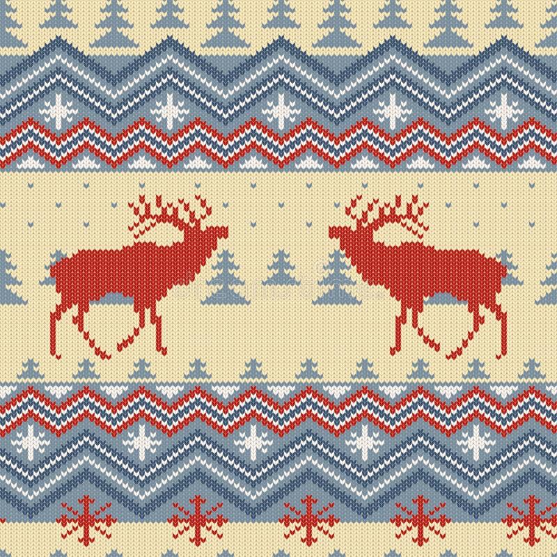 Teste padrão sem emenda de lã feito malha inverno com veados vermelhos na floresta das coníferas ilustração do vetor