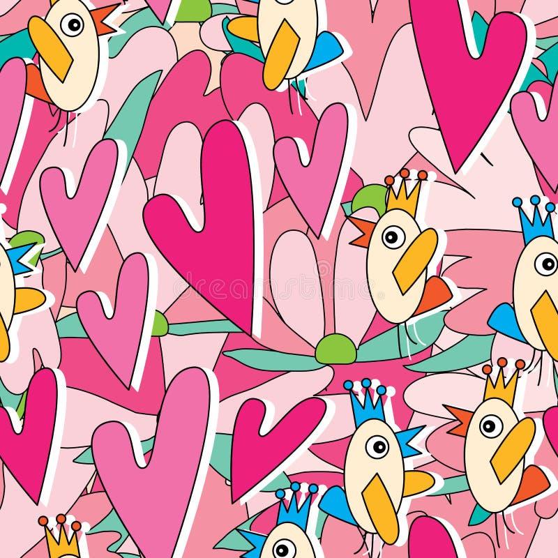 Teste padrão sem emenda de Love Story da conversa do pássaro ilustração royalty free
