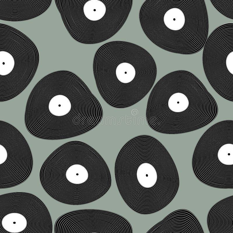 Teste padrão sem emenda de LP do vinil Fundo retro da música Discos a do vinil ilustração stock