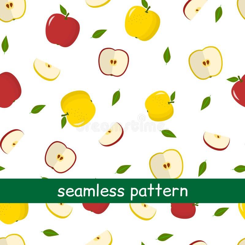 Teste padrão sem emenda de maçãs e das folhas amarelas e vermelhas em um fundo branco ilustração do vetor