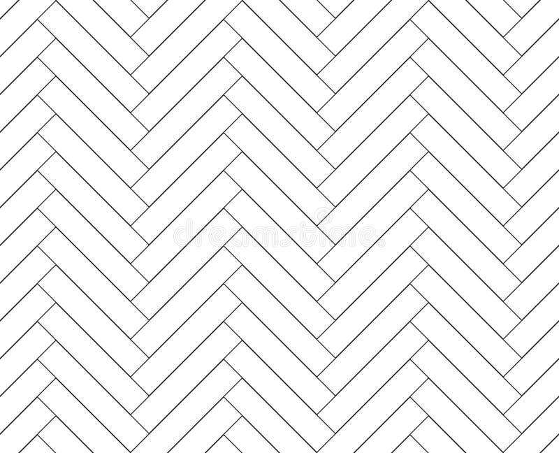 Teste padrão sem emenda de madeira simples preto e branco do parquet de desenhos em espinha do assoalho, vetor ilustração do vetor
