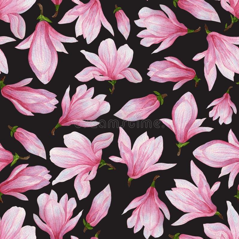 Teste padrão sem emenda de magnólias cor-de-rosa ilustração royalty free