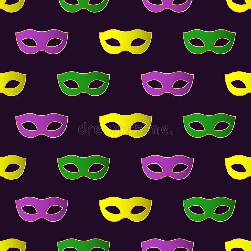 Teste padrão sem emenda de Mardi Gras Carnival com máscaras coloridas ilustração do vetor