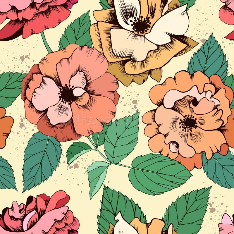 Teste padrão sem emenda de matéria têxtil com rosas ilustração royalty free