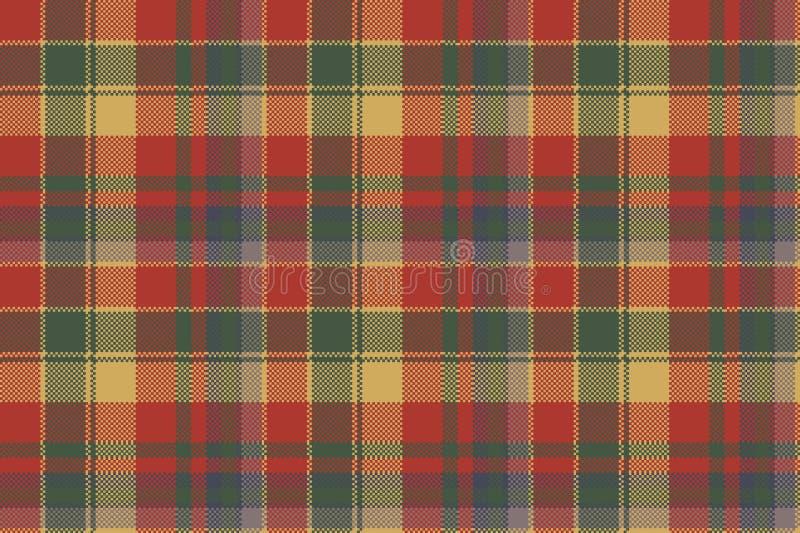Teste padrão sem emenda de matéria têxtil verde vermelha da textura da manta da verificação ilustração do vetor
