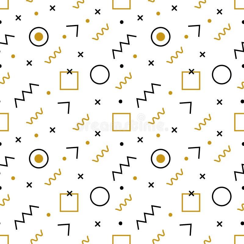 Teste padrão sem emenda de Memphis Teste padrão abstrato do vetor de elementos e de formas geométricos simples Elementos geométri ilustração do vetor