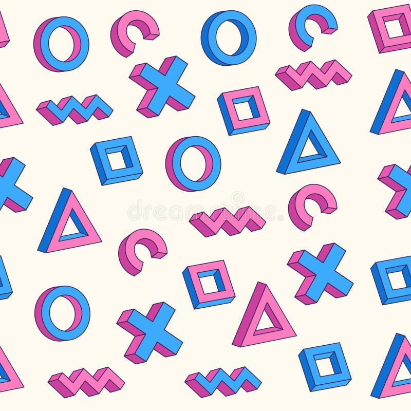 Teste padrão sem emenda de Memphis Cartaz abstrato com formas 3d geométricas ilustração stock