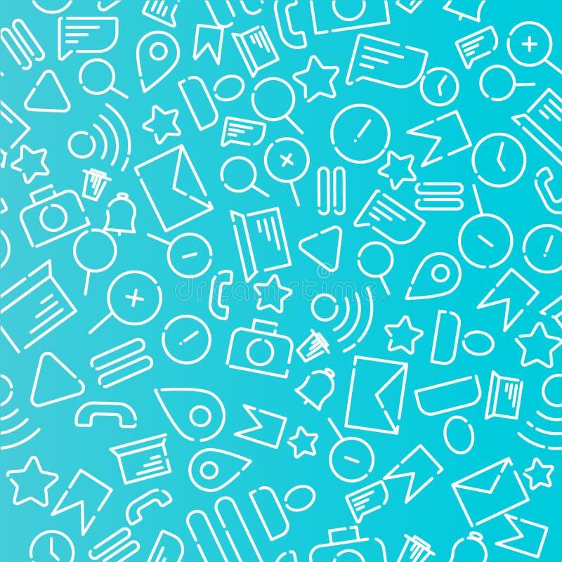 Teste padrão sem emenda de Minimalistic com ícones no tema da Web, Internet, aplicações, telefone Vetor branco em um fundo azul ilustração do vetor