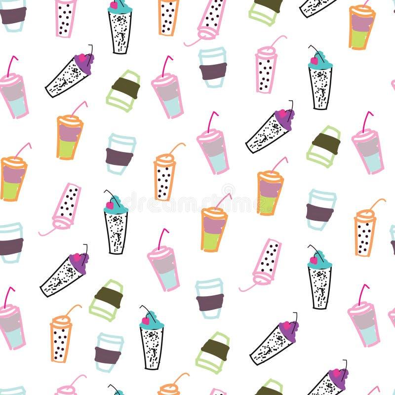 Teste padrão sem emenda de muitos vidro do juse, do coffe, do T e das outras bebidas ilustração stock