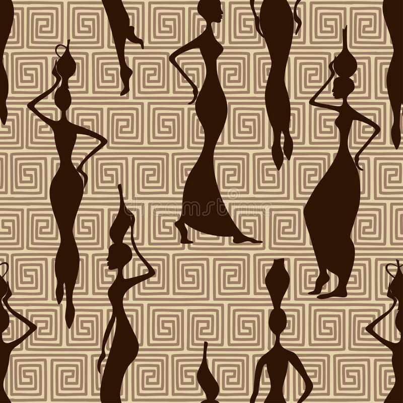 Teste padrão sem emenda de mulheres africanas ilustração stock