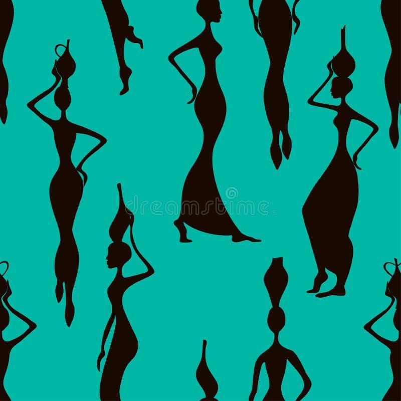 Teste padrão sem emenda de mulheres africanas ilustração royalty free