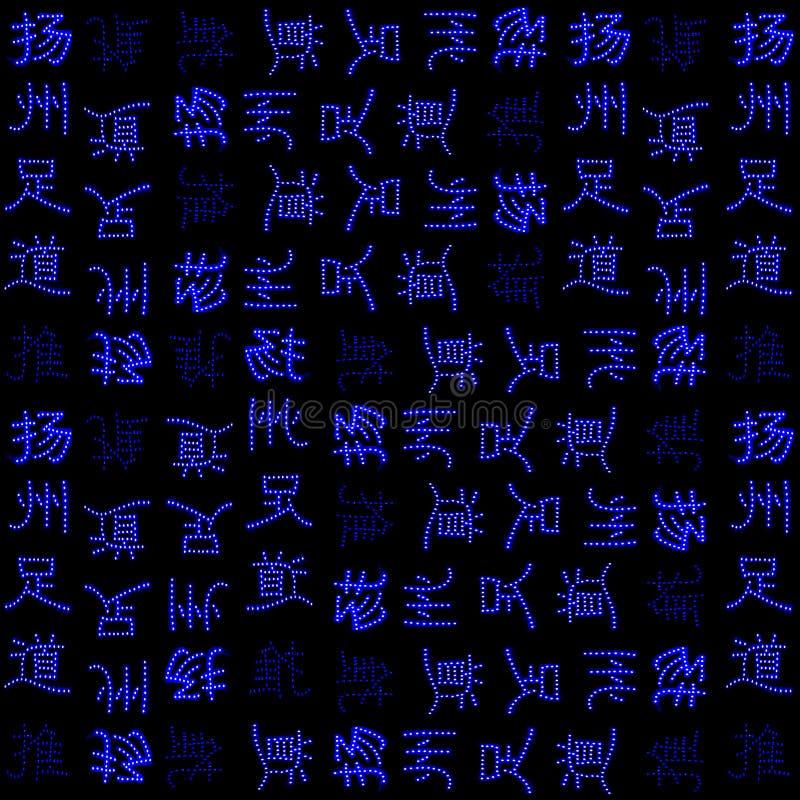 Teste padrão sem emenda de néon dos caráteres chineses ilustração do vetor