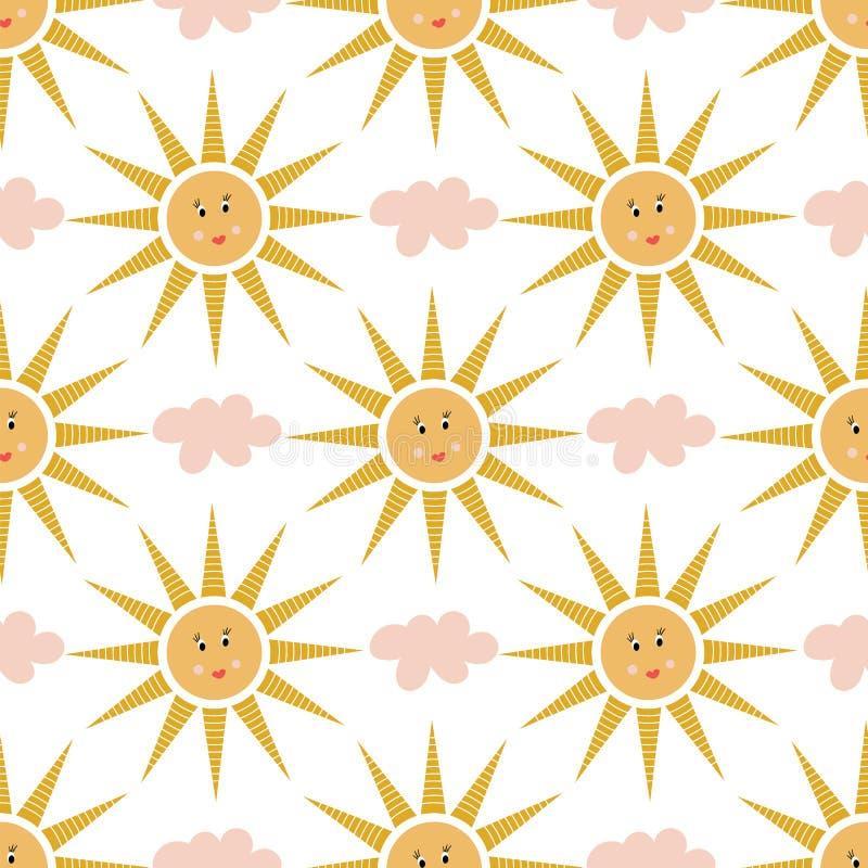 Teste padrão sem emenda de nuvens cor-de-rosa e de sóis felizes ilustração stock