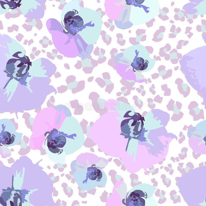 Teste padrão sem emenda de orquídeas da flor ilustração do vetor