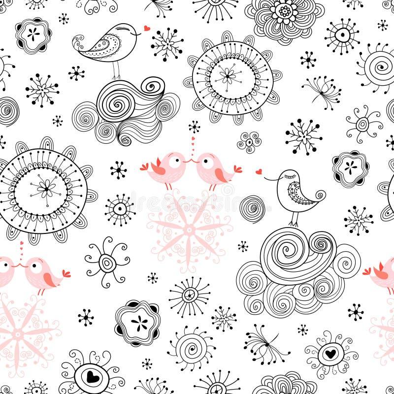 Teste padrão sem emenda de pássaros e de flores do amor ilustração do vetor
