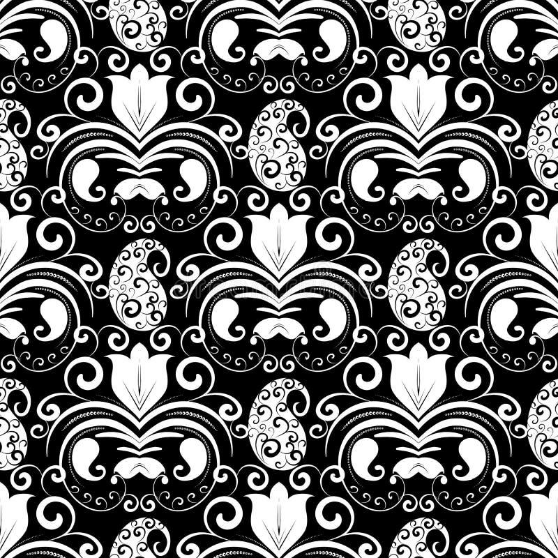 Teste padrão sem emenda de Paisley Backgrou floral preto e branco do vetor ilustração stock