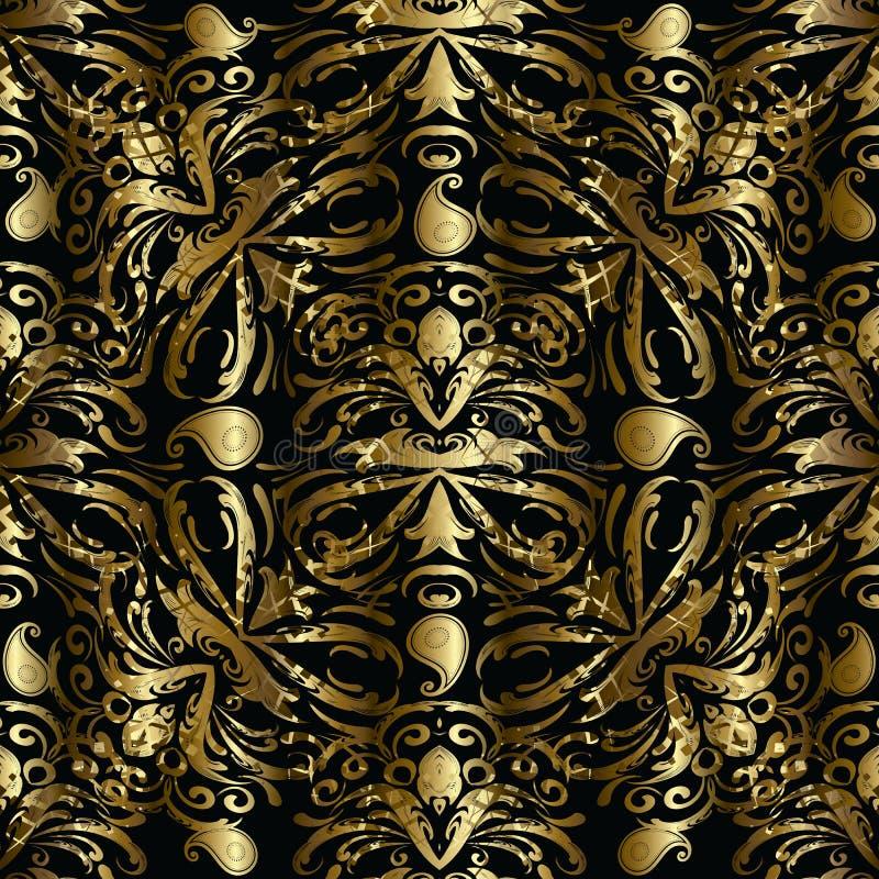 Teste padrão sem emenda de paisley do ouro Backgrou floral da cortina 3d do vetor ilustração do vetor