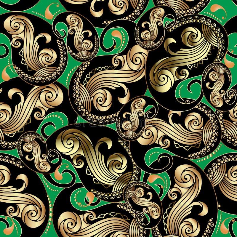 Teste padrão sem emenda de Paisley do ouro ornamentado e do vintage preto Fundo floral decorativo do vetor verde Repita o estilo  ilustração do vetor
