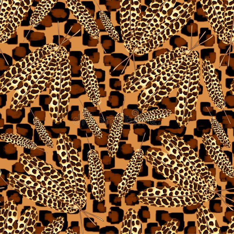 Teste padrão sem emenda de penas malaias do pavão de tamanhos diferentes em um fundo de pontos do leopardo ilustração do vetor