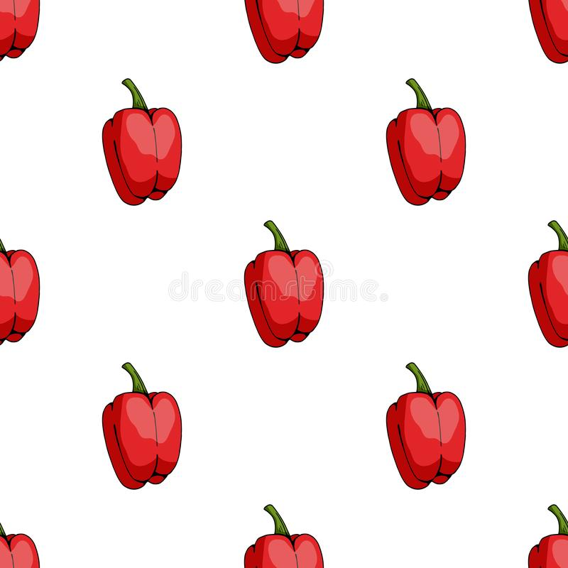 Teste padr?o sem emenda de pimentas vermelhas doces grandes no fundo branco ilustração do vetor