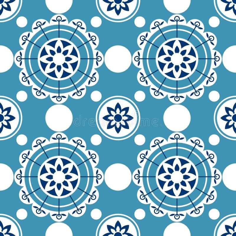 Teste padrão sem emenda de Portugal Textura mediterrânea do azulejo do vintage Teste padrão geométrico das telhas ilustração do vetor