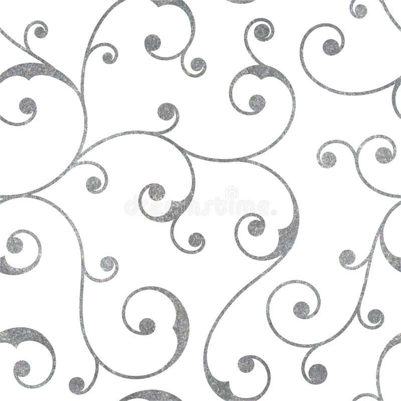 Teste padrão sem emenda de prata abstrato do vintage ilustração do vetor