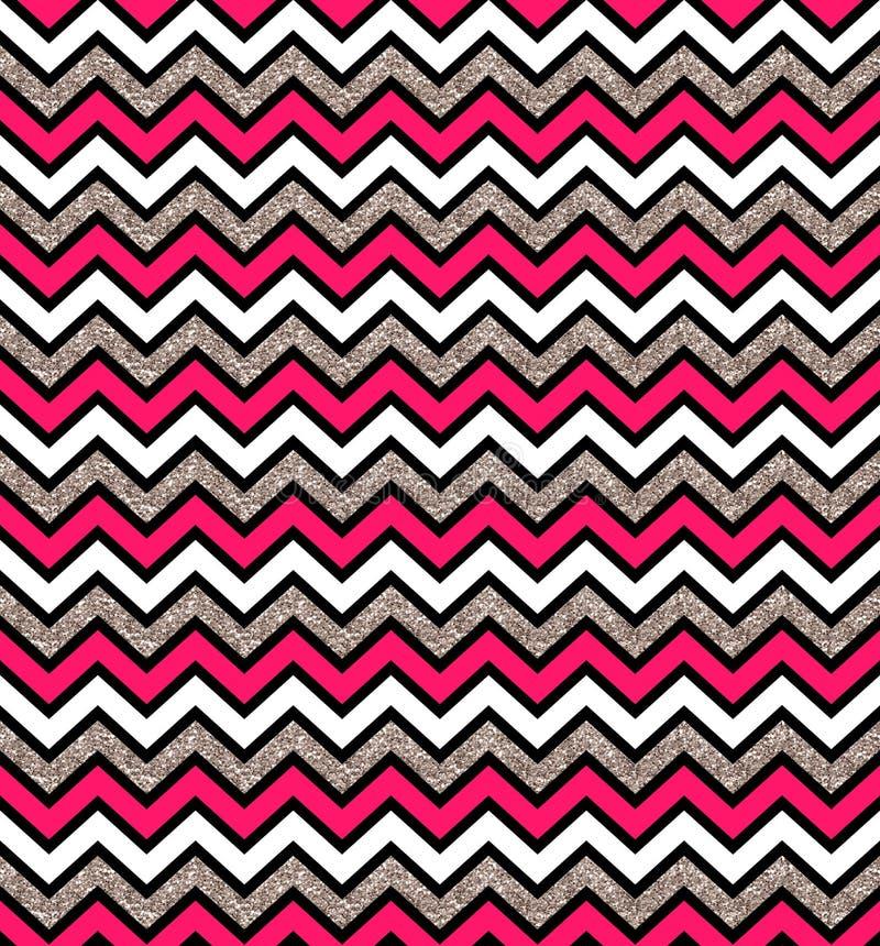 Teste padrão sem emenda de prata e cor-de-rosa do fulgor do ziguezague Fundo geom?trico Imprima o pano, etiqueta, bandeira, cartã ilustração stock