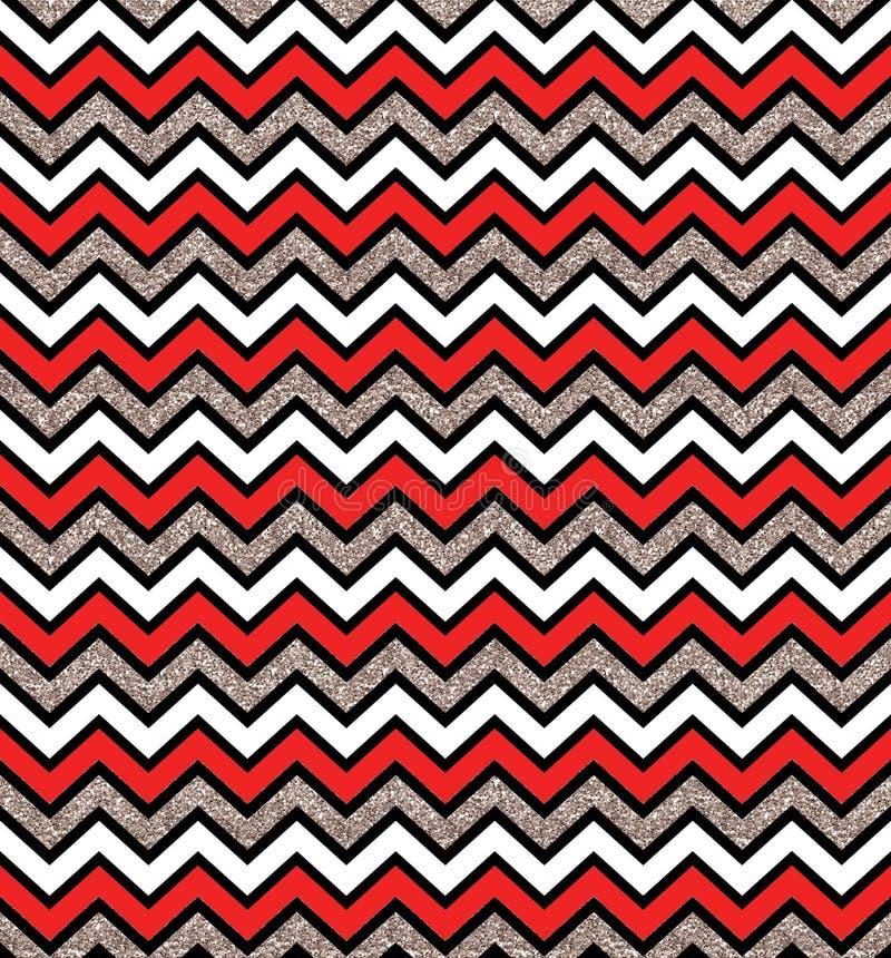 Teste padrão sem emenda de prata e vermelho do fulgor do ziguezague Fundo geom?trico Imprima o pano, etiqueta, bandeira, cartão,  ilustração royalty free