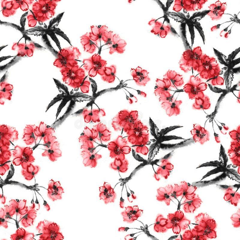 Teste padrão sem emenda de sakura do sumi-e ilustração stock
