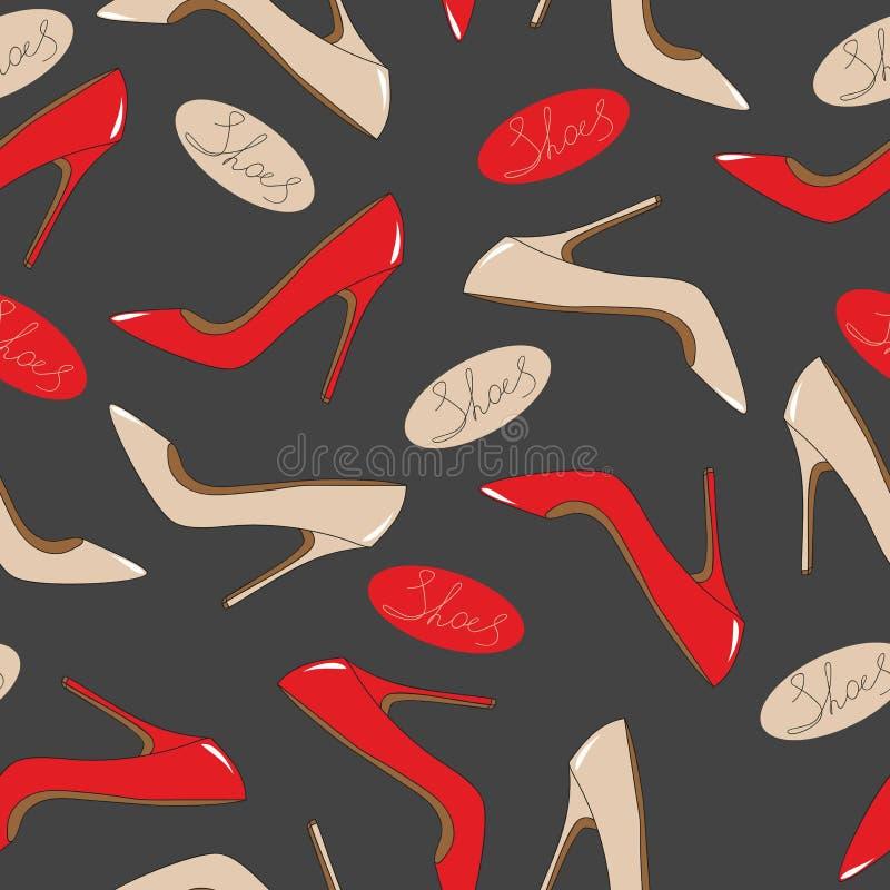 Teste padrão sem emenda de sapatas na moda brilhantes ilustração stock