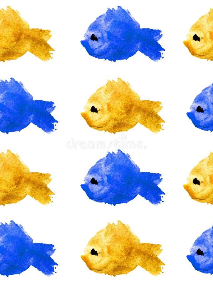 Teste padrão sem emenda de silhuetas amarelas e azuis da aquarela dos peixes com olho roxo no fundo branco isolado sob a forma da ilustração stock