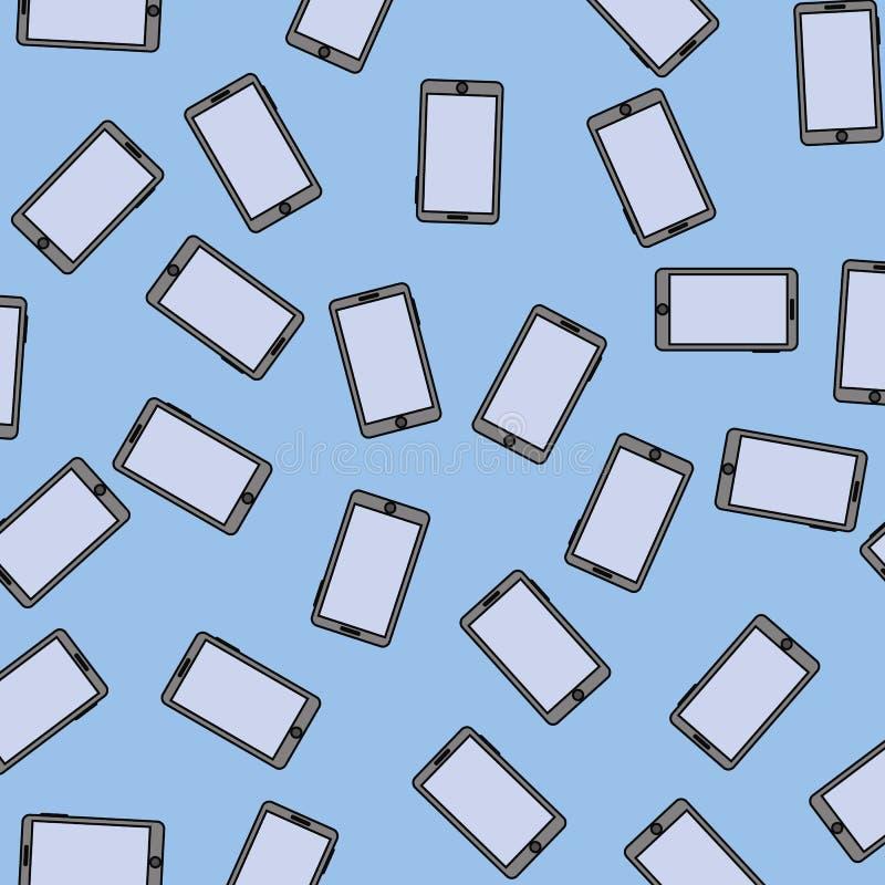 Teste padrão sem emenda de Smartphone ilustração do vetor