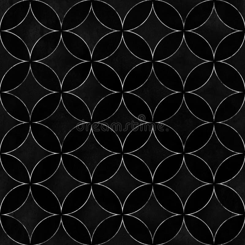 Teste padrão sem emenda de sobreposição dos círculos do luxo preto de veludo ilustração royalty free