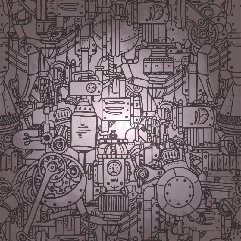 Teste padrão sem emenda de Steampunk Ciência, tecnologia, vintage, progre ilustração royalty free