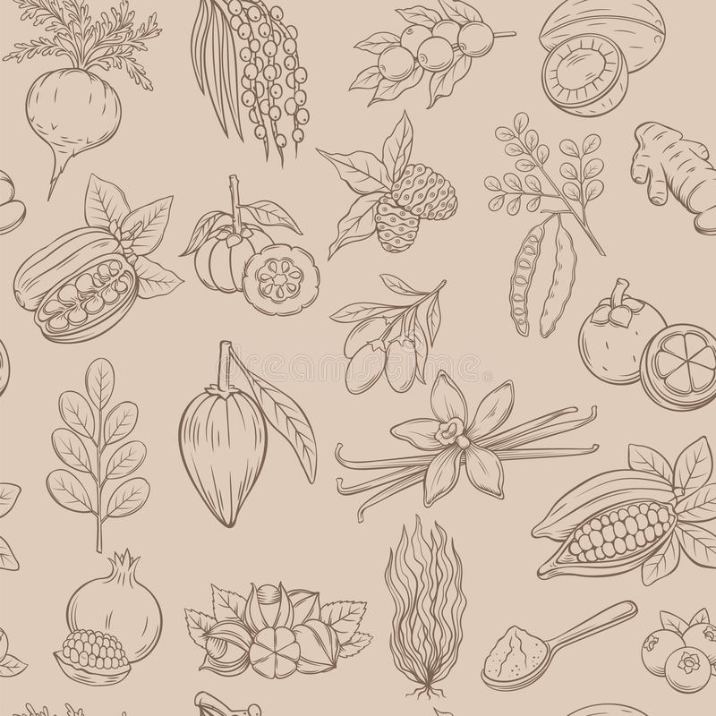 Teste padrão sem emenda de Superfood ilustração royalty free