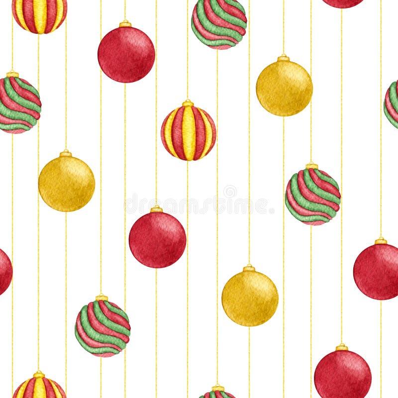 Teste padrão sem emenda de suspensão das bolas do Natal pintado à mão da aquarela no fundo branco Decoração do ano novo ilustração do vetor