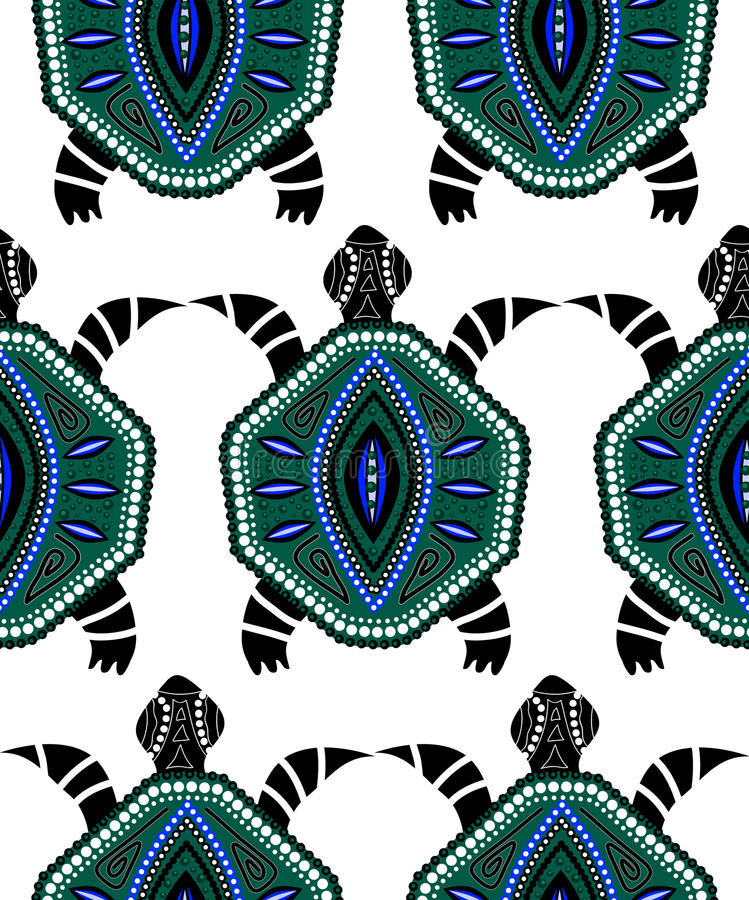 Teste padrão sem emenda de tartarugas azuis ilustração do vetor