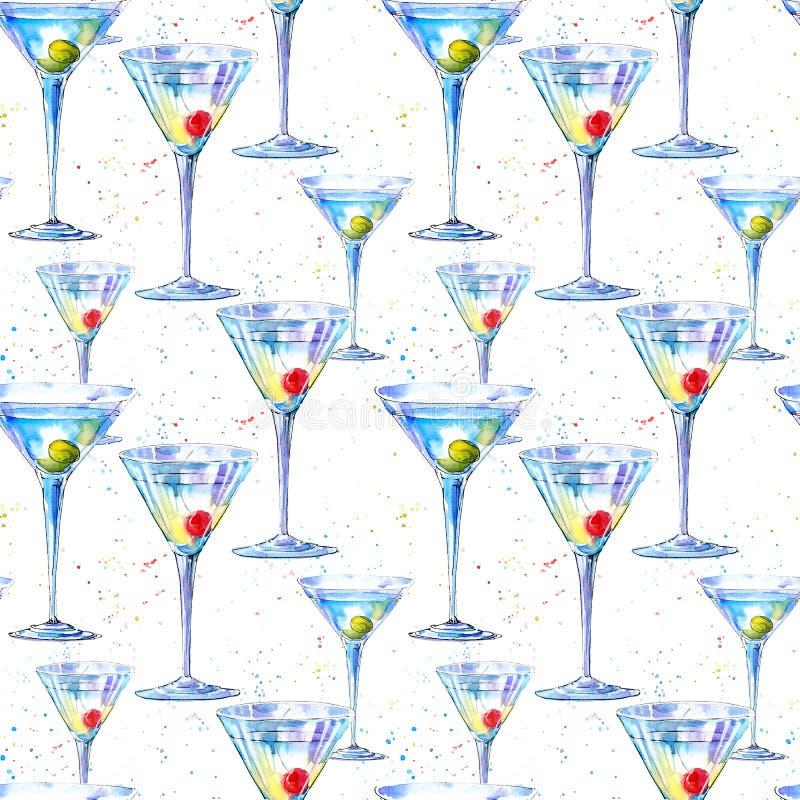 Teste padrão sem emenda de um Martini com azeitona e cereja Pintura de uma bebida e de um respingo do álcool ilustração stock
