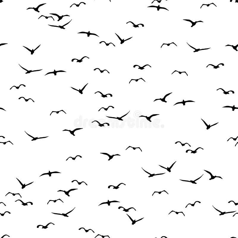 Teste padrão sem emenda de um rebanho dos pássaros ilustração do vetor
