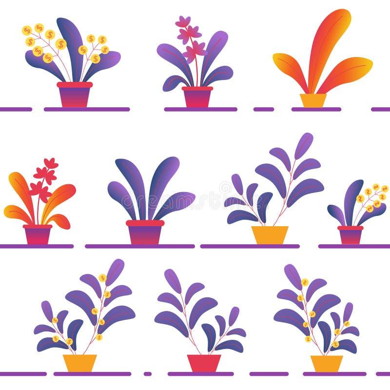 Teste padrão sem emenda de vário Homeplants em pasta ilustração do vetor