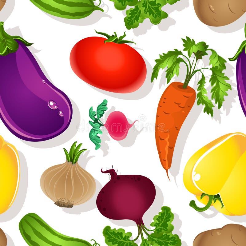 Teste padrão sem emenda de vegetais brilhantes ilustração royalty free