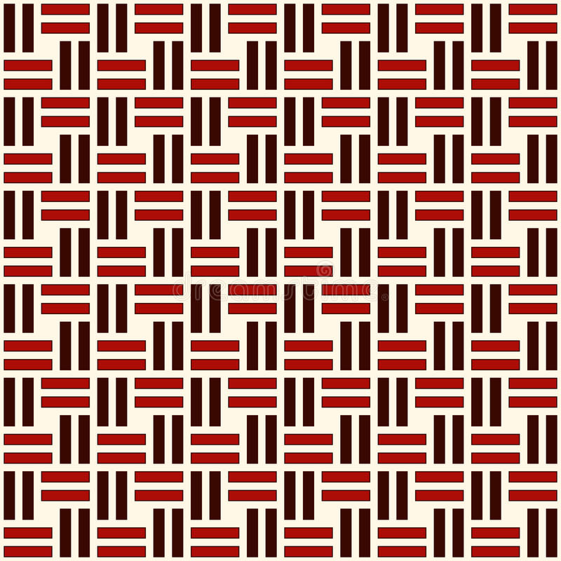 Teste padrão sem emenda de vime Motivo do weave de cesta Fundo abstrato geométrico das cores vermelhas com listras de sobreposiçã ilustração royalty free
