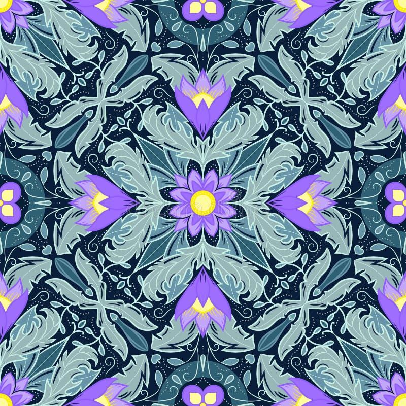 Teste padrão sem emenda decorativo bonito com elementos florais Textura para pap?is de parede, tela, envolt?rio, fundos do p?gina ilustração stock