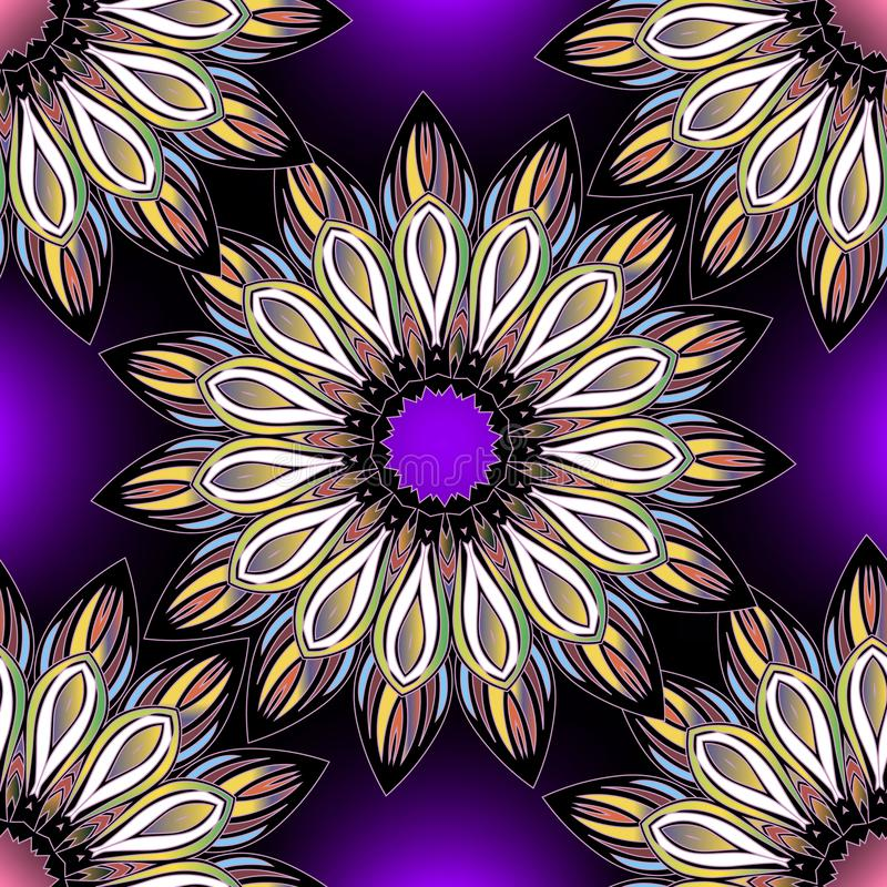 Teste padrão sem emenda decorativo colorido floral Mandalas brilhantes do vetor do estilo étnico redondo Flores multicoloridos da ilustração stock
