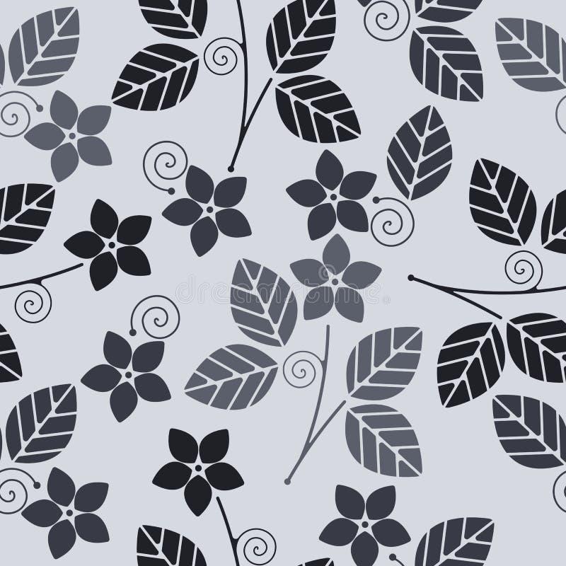 Teste padrão sem emenda decorativo com flores e folhas ilustração royalty free