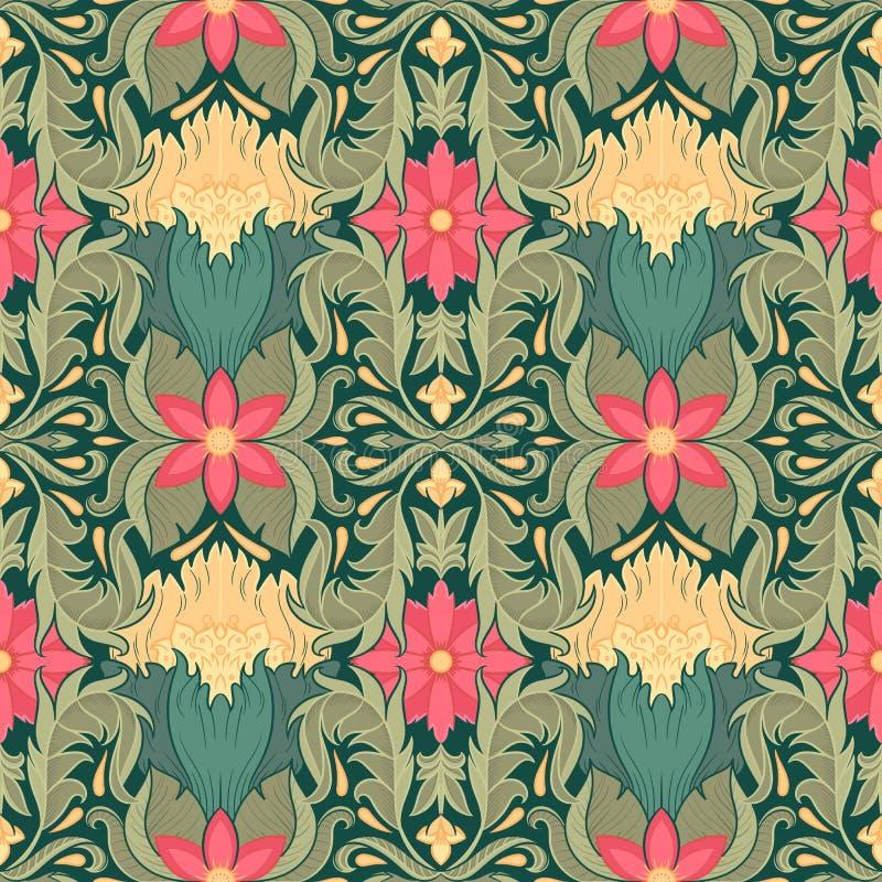 Teste padrão sem emenda decorativo das flores e das folhas com elementos florais Textura para pap?is de parede, tela, envolt?rio, ilustração do vetor
