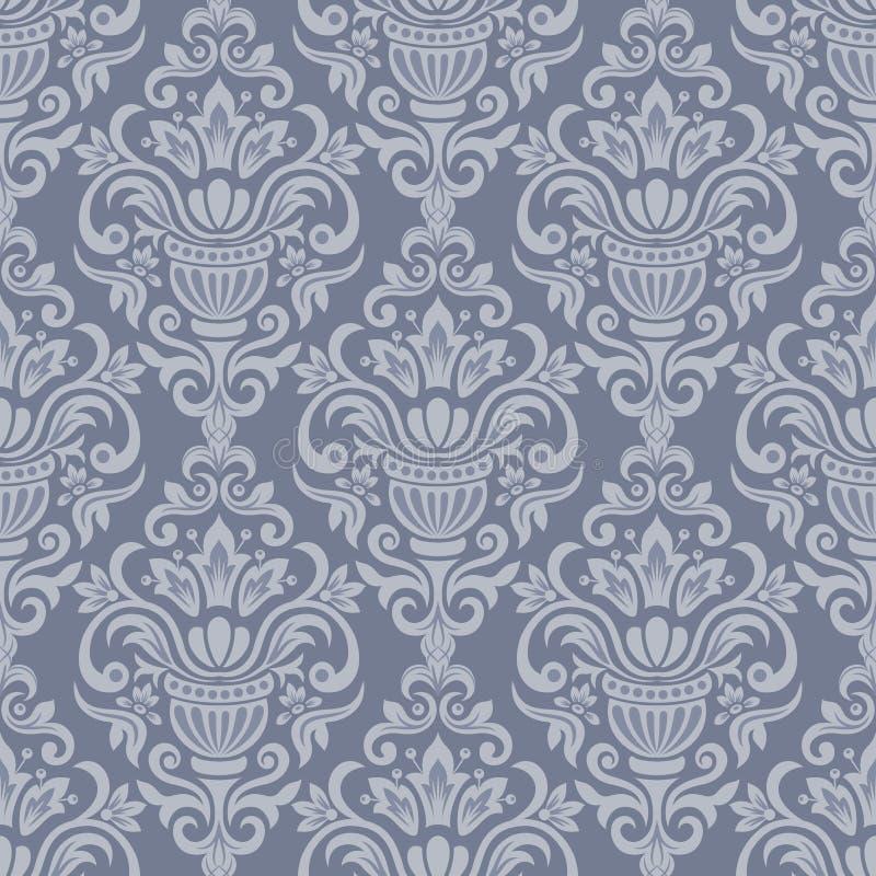 Teste padrão sem emenda decorativo do damasco do vintage ilustração stock