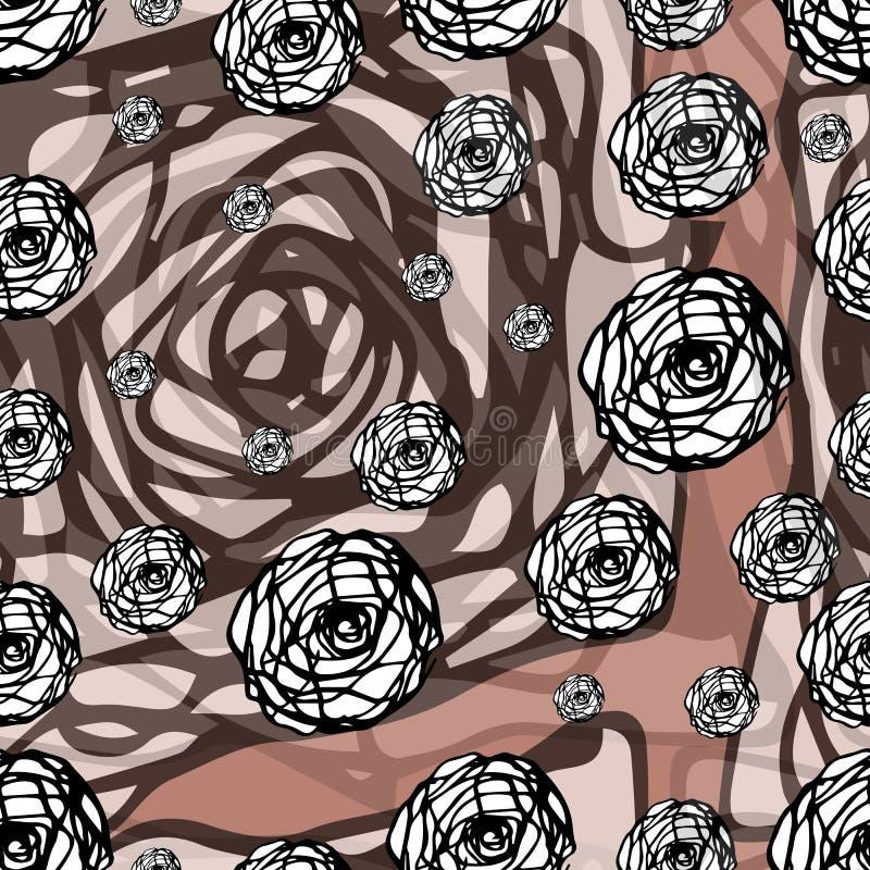 Teste padrão sem emenda decorativo do vintage com anéis e fundo colorido Elementos tirados mão do projeto do vetor ilustração stock