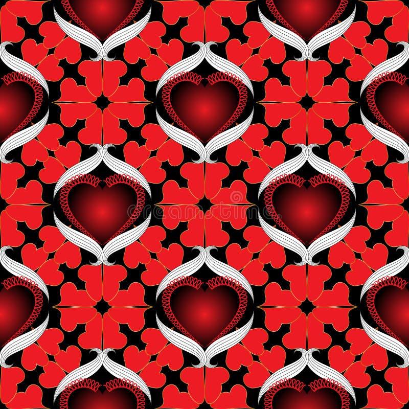 Teste padrão sem emenda decorativo dos corações do amor Fundo romântico colorido do vetor Contexto bonito da repetição do vintage ilustração royalty free