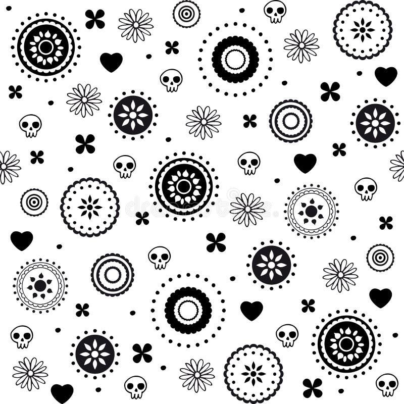 Teste padrão sem emenda decorativo dos corações e dos crânios ilustração royalty free